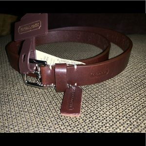 Coach brown leather belt. New with tags size:S